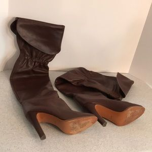 Brown leather high heel over the knee boots